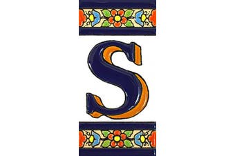 "(Letter ""S"") - House letters 10cm . Handpainted house letter tiles for signs, addresses and names. Address numbers for houses. House address numbers and letters. Design FLORES MEDIANO 11cm x 5.4cm (LETTER S)"