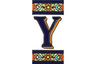 "(Letter ""Y"") - House letters 10cm . Handpainted house letter tiles for signs, addresses and names. Address numbers for houses. House address numbers and letters. Design FLORES MEDIANO 11cm x 5.4cm (LETTER Y)"