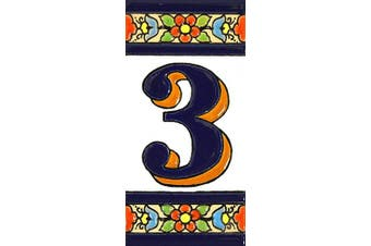 """(Number Three """"3"""") - House numbers 10cm . Handpainted house number tiles for signs, addresses and names. Address numbers for houses. House address numbers and letters. Design FLORES MEDIANO 11cm x 5.4cm (NUMBER 3)"""