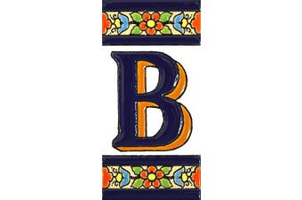 "(Letter ""B"") - House letters 10cm . Handpainted house letter tiles for signs, addresses and names. Address numbers for houses. House address numbers and letters. Design FLORES MEDIANO 11cm x 5.4cm (LETTER B)"