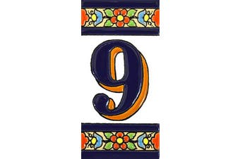 """(Number Nine """"9"""") - House numbers 10cm . Handpainted house number tiles for signs, addresses and names. Address numbers for houses. House address numbers and letters. Design FLORES MEDIANO 11cm x 5.4cm (NUMBER 9)"""