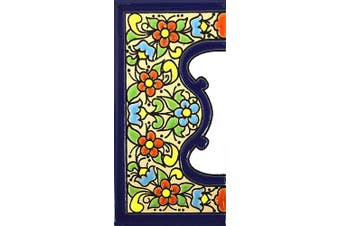 (Edge, Border) - House letters 10cm . Handpainted house letter tiles for signs, addresses and names. Address numbers for houses. House address numbers and letters. Design FLORES MEDIANO 11cm x 5.4cm (EDGE,BORDER)