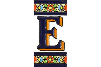 "(Letter ""E"") - House letters 10cm . Handpainted house letter tiles for signs, addresses and names. Address numbers for houses. House address numbers and letters. Design FLORES MEDIANO 11cm x 5.4cm (LETTER E)"