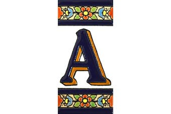 """(Letter """"A"""") - House letters 10cm . Handpainted house letter tiles for signs, addresses and names. Address numbers for houses. House address numbers and letters. Design FLORES MEDIANO 11cm x 5.4cm (LETTER A)"""