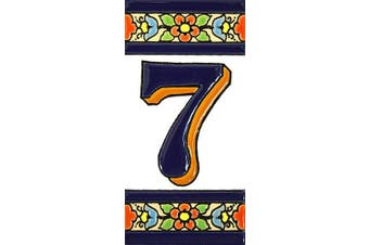 """(Number Seven """"7"""") - House numbers 10cm . Handpainted house number tiles for signs, addresses and names. Address numbers for houses. House address numbers and letters. Design FLORES MEDIANO 11cm x 5.4cm (NUMBER 7)"""