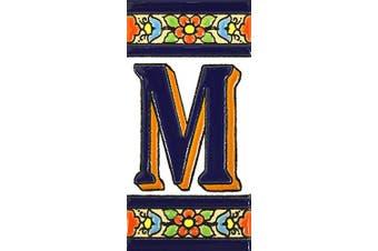"(Letter ""M"") - House letters 10cm . Handpainted house letter tiles for signs, addresses and names. Address numbers for houses. House address numbers and letters. Design FLORES MEDIANO 11cm x 5.4cm (LETTER M)"
