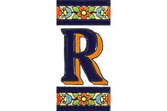"(Letter ""R"") - House letters 10cm . Handpainted house letter tiles for signs, addresses and names. Address numbers for houses. House address numbers and letters. Design FLORES MEDIANO 11cm x 5.4cm (LETTER R)"