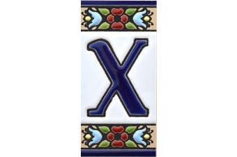 "(Letter ""X"") - House letters 7.6cm . Handpainted house letter tiles for signs, addresses and names. Address numbers for houses. House address numbers and letters. Design Design FLORES MINI 7.3cm x 3.5cm (LETTER X)"