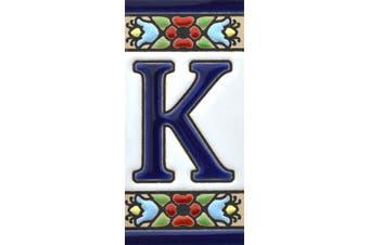 "(Letter ""K"") - House letters 7.6cm . Handpainted house letter tiles for signs, addresses and names. Address numbers for houses. House address numbers and letters. Design Design FLORES MINI 7.3cm x 3.5cm (LETTER K)"