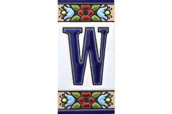 "(Letter ""W"") - House letters 7.6cm . Handpainted house letter tiles for signs, addresses and names. Address numbers for houses. House address numbers and letters. Design Design FLORES MINI 7.3cm x 3.5cm (LETTER W)"