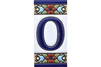 "(Letter ""O"") - House letters 7.6cm . Handpainted house letter tiles for signs, addresses and names. Address numbers for houses. House address numbers and letters. Design Design FLORES MINI 7.3cm x 3.5cm (LETTER O)"