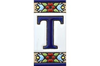 "(Letter ""T"") - House letters 7.6cm . Handpainted house letter tiles for signs, addresses and names. Address numbers for houses. House address numbers and letters. Design Design FLORES MINI 7.3cm x 3.5cm (LETTER T)"