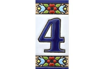 """(Number Four """"4"""") - House numbers 7.6cm . Handpainted house number tiles for signs, addresses and names. Address numbers for houses. House address numbers and letters. Design FLORES MINI 7.3cm x 3.5cm (NUMBER 4)"""