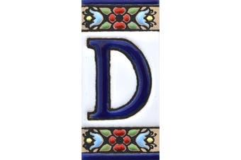 "(Letter ""D"") - House letters 7.6cm . Handpainted house letter tiles for signs, addresses and names. Address numbers for houses. House address numbers and letters. Design Design FLORES MINI 7.3cm x 3.5cm (LETTER D)"