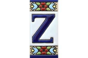 "(Letter ""Z"") - House letters 7.6cm . Handpainted house letter tiles for signs, addresses and names. Address numbers for houses. House address numbers and letters. Design Design FLORES MINI 7.3cm x 3.5cm (LETTER Z)"