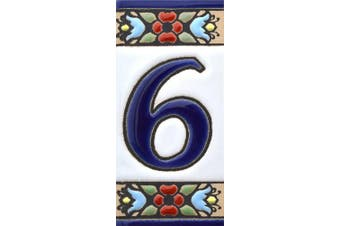 """(Number Six """"6"""") - House numbers 7.6cm . Handpainted house number tiles for signs, addresses and names. Address numbers for houses. House address numbers and letters. Design FLORES MINI 7.3cm x 3.5cm (NUMBER 6)"""