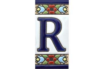 "(Letter ""R"") - House letters 7.6cm . Handpainted house letter tiles for signs, addresses and names. Address numbers for houses. House address numbers and letters. Design Design FLORES MINI 7.3cm x 3.5cm (LETTER R)"