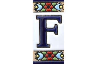 "(Letter ""F"") - House letters 7.6cm . Handpainted house letter tiles for signs, addresses and names. Address numbers for houses. House address numbers and letters. Design Design FLORES MINI 7.3cm x 3.5cm (LETTER F)"