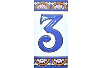 """(Number Three """"3"""") - House numbers 15cm . Handpainted house number tiles for signs, addresses and names. Address numbers for houses. House address numbers and letters. Design ARCO GRANDE 15cm x 7.4cm (NUMBER 3)"""