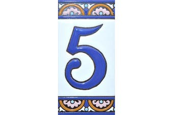 """(Number Five """"5"""") - House numbers 15cm . Handpainted house number tiles for signs, addresses and names. Address numbers for houses. House address numbers and letters. Design ARCO GRANDE 15cm x 7.4cm (NUMBER 5)"""