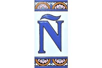 "(Letter ""Ñ"") - House letters 15cm . Handpainted house letter tiles for signs, addresses and names. Address numbers for houses. House address numbers and letters. Design ARCO GRANDE 15cm x 7.4cm (LETTER Ñ)"