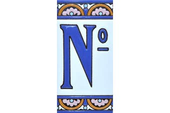 """(Number """"Nº"""") - House numbers 15cm . Handpainted house number tiles for signs, addresses and names. Address numbers for houses. House address numbers and letters. Design ARCO GRANDE 15cm x 7.4cm (NUMBER Nº)"""