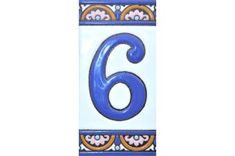 """(Number Six """"6"""") - House numbers 15cm . Handpainted house number tiles for signs, addresses and names. Address numbers for houses. House address numbers and letters. Design ARCO GRANDE 15cm x 7.4cm (NUMBER 6)"""