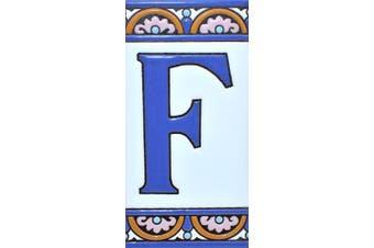 "(Letter ""F"") - House letters 15cm . Handpainted house letter tiles for signs, addresses and names. Address numbers for houses. House address numbers and letters. Design ARCO GRANDE 15cm x 7.4cm (LETTER F)"