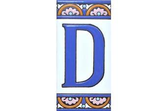 "(Letter ""D"") - House letters 15cm . Handpainted house letter tiles for signs, addresses and names. Address numbers for houses. House address numbers and letters. Design ARCO GRANDE 15cm x 7.4cm (LETTER D)"