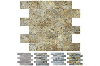 (A16602) - Art3d Stone Backsplash Tile Peel and Stick for Kitchen, 10-Sheet of 30cm x 30cm , Covering 0.8sqm, Ecru Slate
