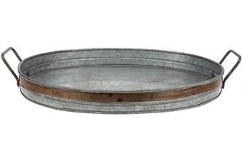 (Medium) - Stonebriar Galvanised Metal Serving Tray with Rust Trim and Metal Handles, Unique Butler Tray, Decorative Centrepiece for Coffee Table or Dining Table, Rustic Accessories for Weddings and Parties