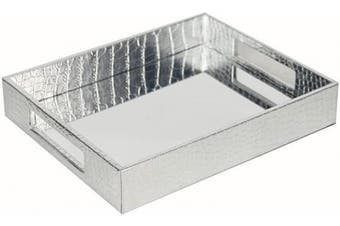 (Silver) - Vixdonos Decorative Mirror Tray,Silver Vanity Tray,Leather Catchall Organiser for Makeup,Perfume and Cosmetic on Dresser or Coffee Table(Silver)