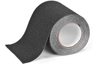 (Black) - Anti Slip Traction Tape, 15cm × 9.1m, Longer and Wider, 80 Grit, Best Grip and Friction, Safe, Tread Step, Strong Abrasive Adhesive for Stairs, Indoor, Outdoor, Black