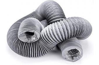 "(5""X16 FT, Gray) - Hon & Guan 13cm Air Duct - 4.9m Long, Flexible Ducting HVAC Ventilation Air Hose for Grow Tents, Dryer Rooms,Kitchen"