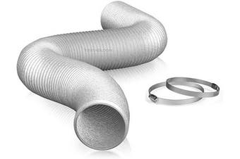 """(4"""" X 8 FT (SILVER)) - TerraBloom 10cm Air Duct - 2.4m Long, Flexible Ducting with 2 Clamps, 3 Layer HVAC Ventilation Air Hose - Great for Grow Tents, Green Houses, House Vent Register Lines"""