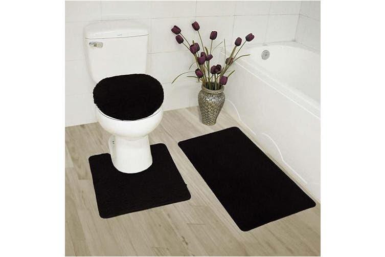 Bath Rug Contour Mat, Black Bathroom Rug Set