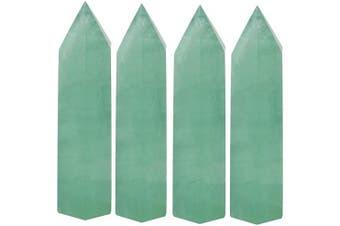 (Green Fluorite Quartz) - Luckeeper Healing Crystal Wands | 5.1cm Green Fluorite Quartz Crystal Wand | 6 Faceted Reiki Chakra Meditation Therapy 4pcs