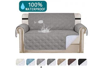 (Dove) - Turquoize Waterproof Sofa Slipcover Loveseat Protector Cover for Living Room Non-Slip Couch Covers for Dogs Pet Quilted Furniture Covers Washable Protects from Kids, Dogs, Cats (Loveseat 140cm ,Dove)