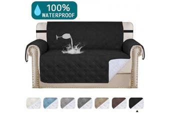 (Black) - Turquoize Waterproof Sofa Slipcover Loveseat Protector Cover for Living Room Non-Slip Couch Covers for Dogs Pet Quilted Furniture Covers Washable Protects from Kids, Dogs, Cats (Loveseat 140cm ,Black)
