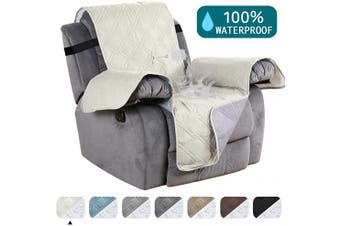 (60cm , Beige) - Turquoize Waterproof Recliner Chair Cover for Small Recliners Pet Quilted Sofa Covers for Leather Non Slip Furniture Protector Soft and Cotton Finish Crafted Sofa Recliner Protector, Recliner, Beige