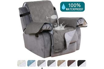 (60cm , Dove) - Turquoize Waterproof Recliner Chair Cover for Small Recliners Pet Quilted Sofa Covers for Leather Non Slip Furniture Protector Soft and Cotton Finish Crafted Sofa Protector/Slipcovers Recliner, Dove