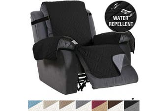 (Large, Black/Grey) - Recliner Cover Reversible Sofa Slipcover Furniture Protector Water Resistant 5.1cm Wide Elastic Straps Recliner Chair Cover Pets Fit Sitting Width Up to 80cm (Oversized Recliner, Black/Beige)