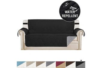 (X-Large, Black/Grey) - H.VERSAILTEX Reversible Sofa Slipcover Furniture Protector Water Resistant 5.1cm Wide Elastic Straps Sofa Cover Couch Covers Pets Kids Fit Sitting Width Up to 200cm (Oversized Sofa, Black/Grey)