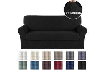 (Large, Black) - Turquoize 2 Pieces Sofa Slipcover Black Couch Covers for 3 Cushion Furniture Protector/Slipcover Spandex Sofa Covers Form Fit Slip Resistant Stylish Furniture Protector Sofa 3 Seater (Sofa, Black)