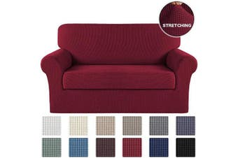 (Burgundy Red) - Sofa Cover 2 Piece Couch Covers with Elastic Bottom Durable Loveseat Stretch Slipcovers, Slip Resistant Sofa Furniture Protector/Couch Slipcover Spandex Jacquard Fabric (Loveseat, Burgundy)