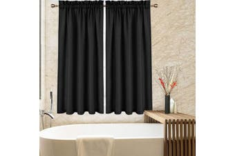 (Tiers|160cm L, Black) - CAROMIO Tier Curtains for Kitchen 160cm , Waffle Woven Textured Bathroom Window Curtains Cafe Kitchen Curtains, Black