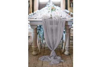 (1, Light Gray) - QueenDream Light Grey Wedding Decoration 3m Light Grey Chiffon Table Runner Overlay for Boho Wedding Party Bridal Shower Home Table Decorations