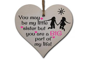 Handmade Wooden Hanging Heart Plaque Gift Perfect for Sisters Lovely Friendship Keepsake