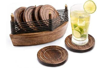 (Boat) - Divit Wooden Boat Coasters for Drinks, Eco-Friendly, Absorbent, Antique Look Handcrafted Coasters, Set of 6