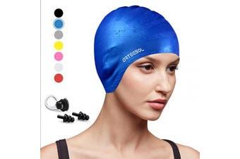 (blue, 1 pcs) - arteesol Swimming Cap, Anti-Slip Silicone Swim cap Anti-Tear Ergonomic Design Cover Ears for Long Hair Adults and Kids